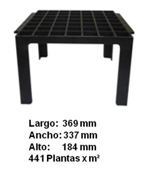 Mesa para tubetes de 49 cavidades